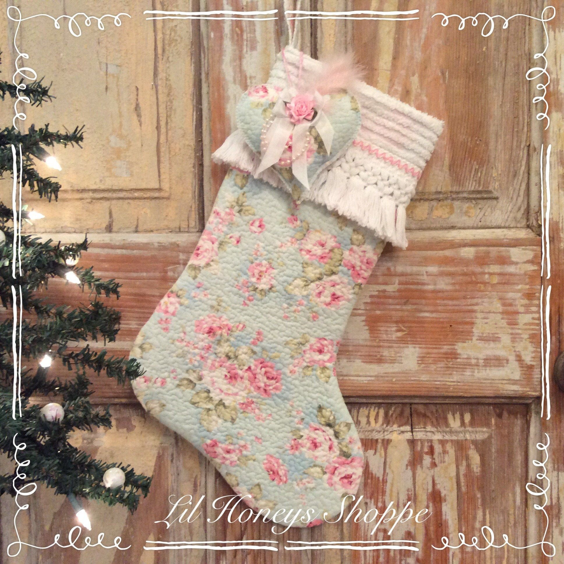 Shabby chic rose quilted Christmas stocking, cottage