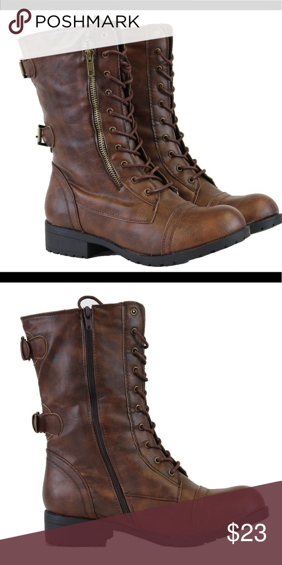 c3170486cb14 Women s Brown Military Combat Boots Zip Lace Up Brand new brown Military  Combat Boots with size zipper and front Lace Up in brown.