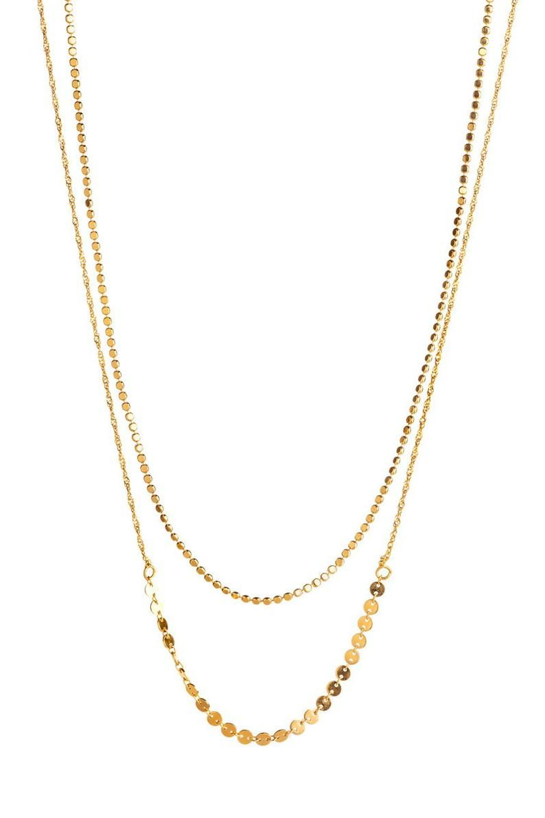 Double Layered Gold Necklace Layering Jewelry Multi Chain Etsy In 2020 Multi Chain Necklace Gold Bridal Necklace Gold Necklace Layered