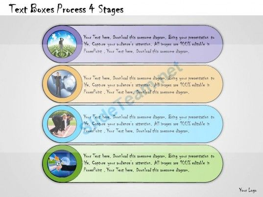 1013 Business Ppt Diagram Text Boxes Process 4 Stages Powerpoint