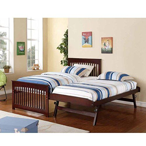 Salinas Wooden And Metal Twin Bed With Pop Up Trundle Rollaway