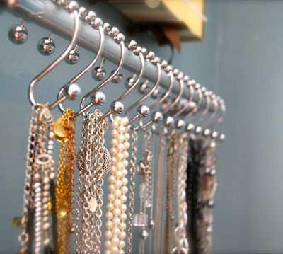 Use Shower Hooks On A Curtain Rod To Hang Long Necklaces