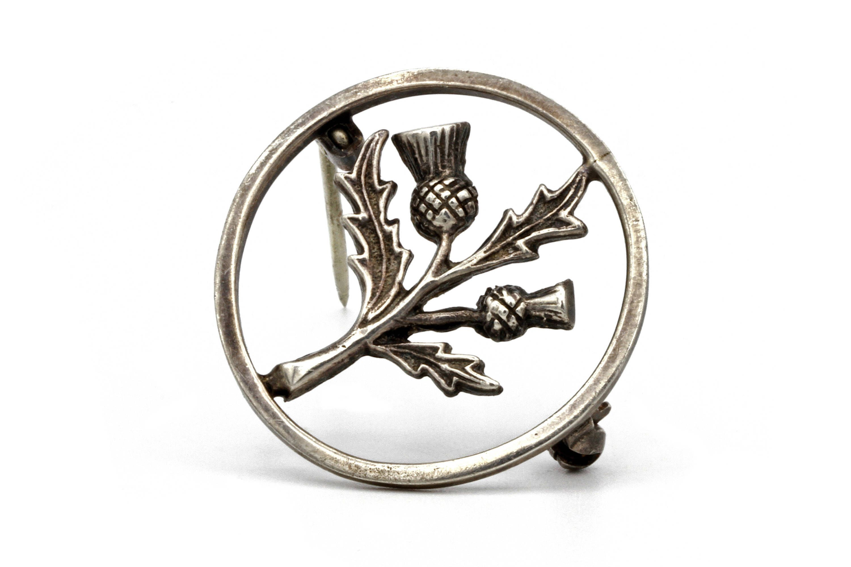 Tiny Scotland Scottish Thistle Round Pin Badge