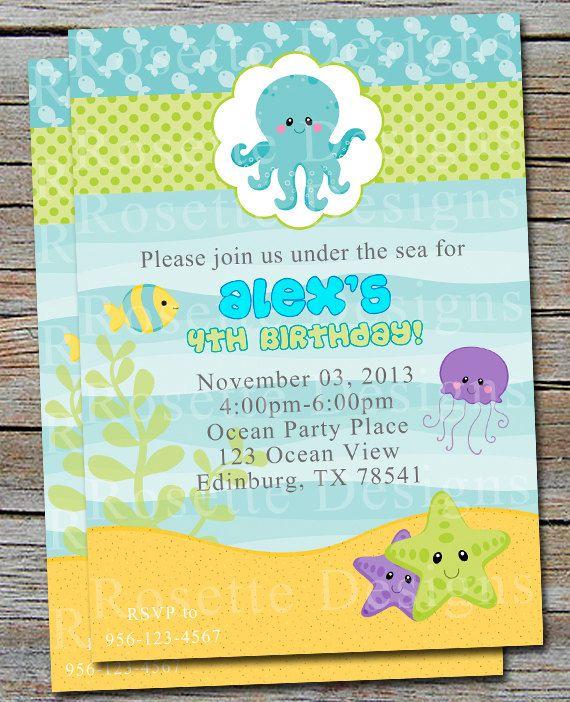 UNDER THE SEA Birthday Invitation- New Design