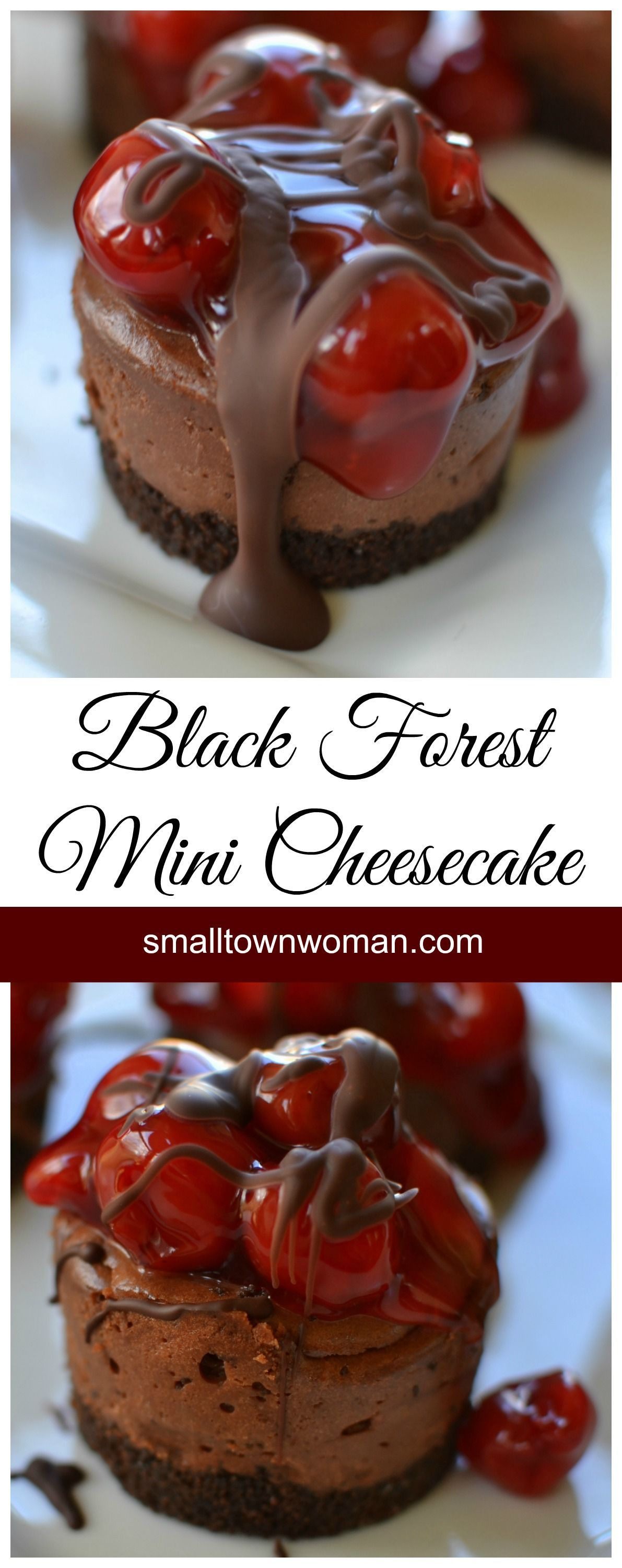 beautiful Black Forest Mini Cheesecakes are scrumptious and beautiful. Who could ask for more than that?