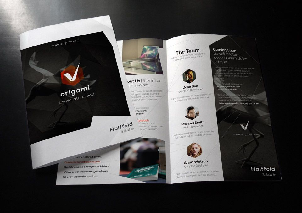 Origami Bi Fold Brochure Template Brochure Templates Pixeden - advertising brochure template