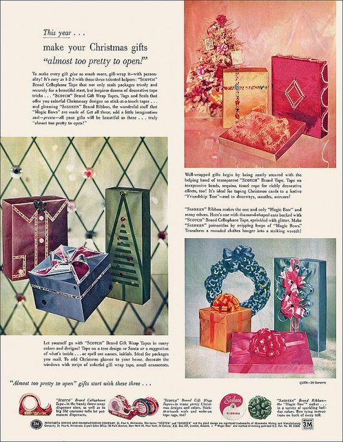 3m scotch sasheen ribbon ad 1956 scotch vintage