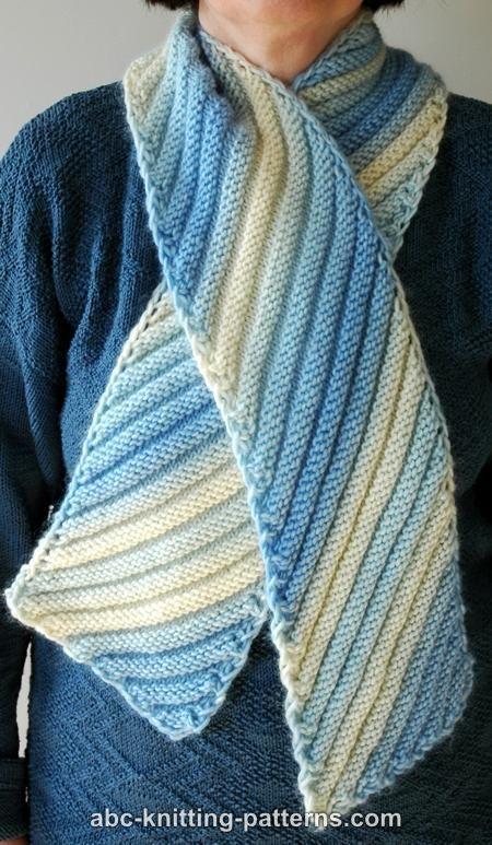ABC Knitting Patterns - Diagonal Scarf | Knit Scarves | Knitting