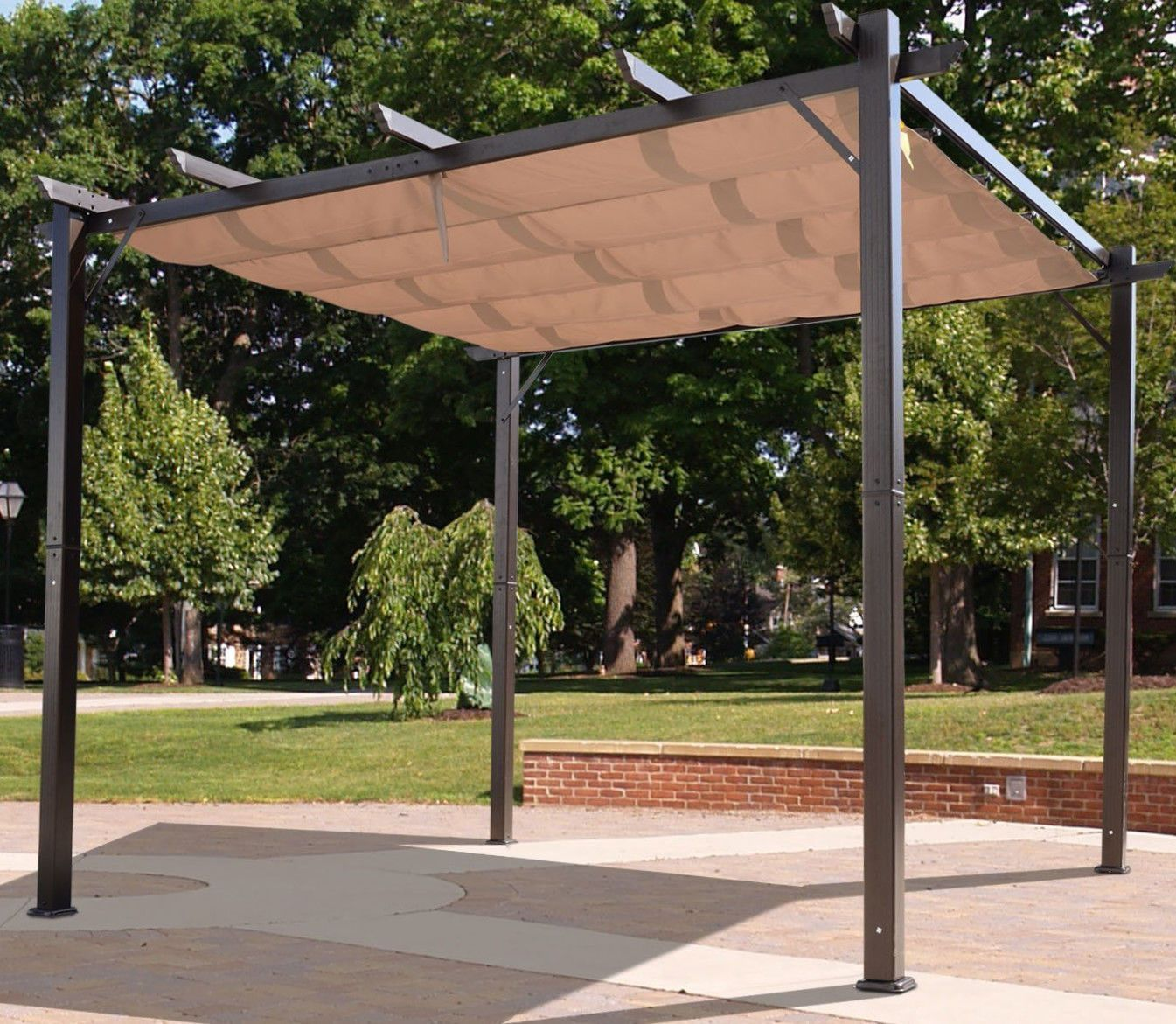 Outdoor Pergola Aluminum Canopy Retractable Shade Shelter x