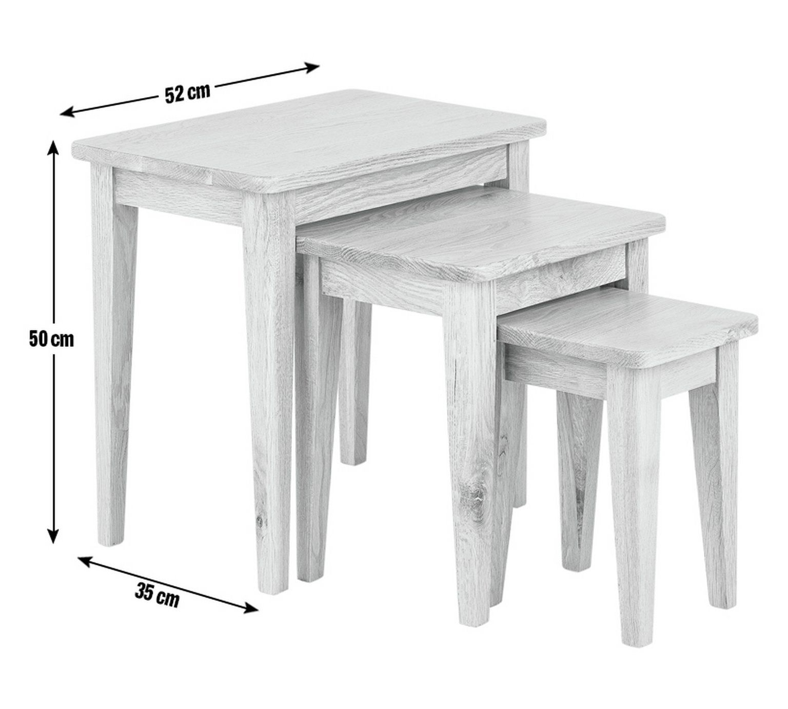 buy collection nest of 3 tables solid oak at argos co uk