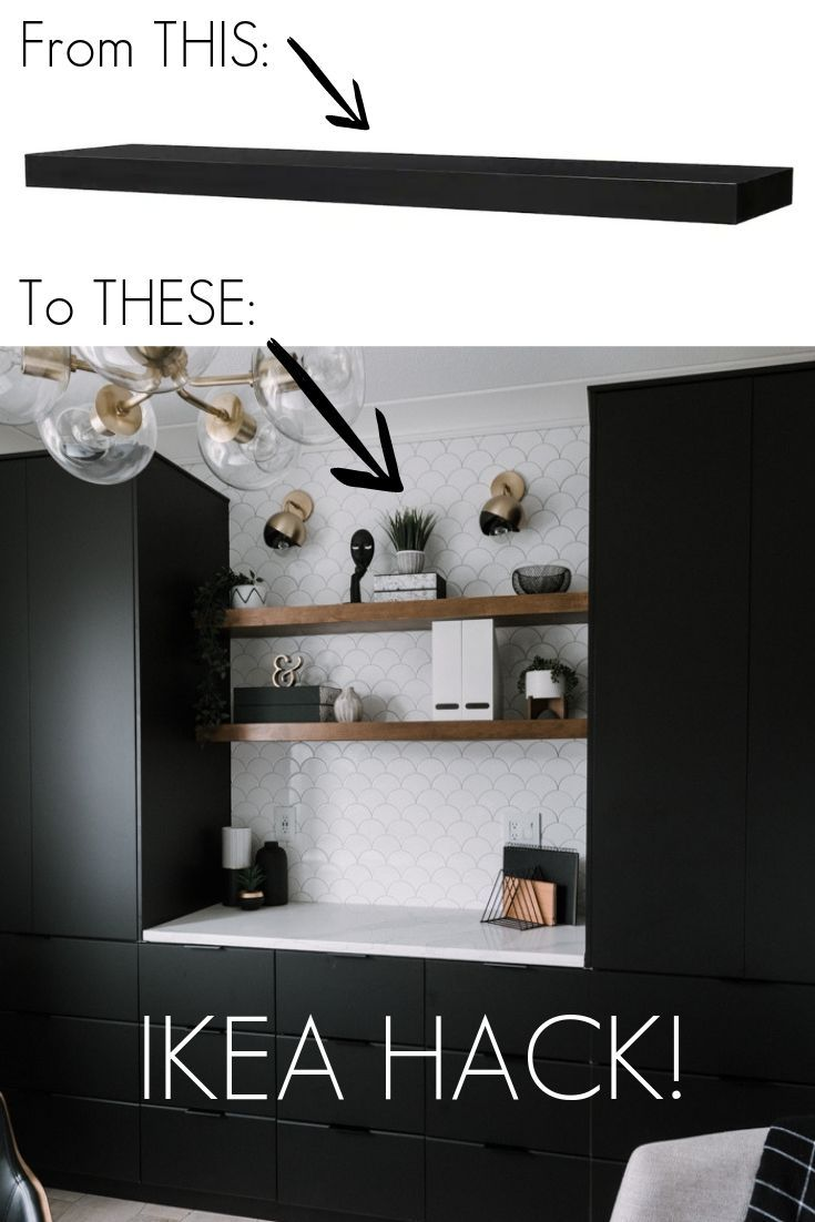 Easy DIY Floating Shelves [an IKEA hack!] - Love Create Celebrate :  Easy DIY Floating Shelves that you can put in any home! Love the idea of using the IKEA Lack Shelves for the base in this genius IKEA hack! Hang these shelves in the bathroom, kitchen, bedroom, office, living room, or anywhere that needs shelving! Cheap and affordable wooden shelves that you can customize with any stain of your choice! Learn how to build these simple guys in one afternoon! #woodworking   #Celebrate #Create #dı