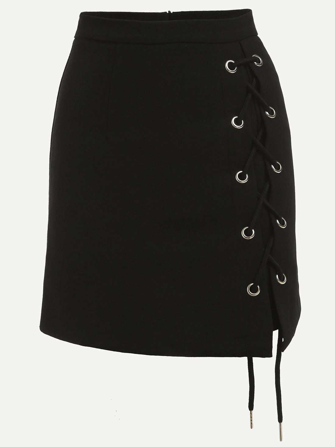 54dedc9ed Black Eyelet Lace-Up Side Pencil Skirt. | Things you wear | Faldas ...
