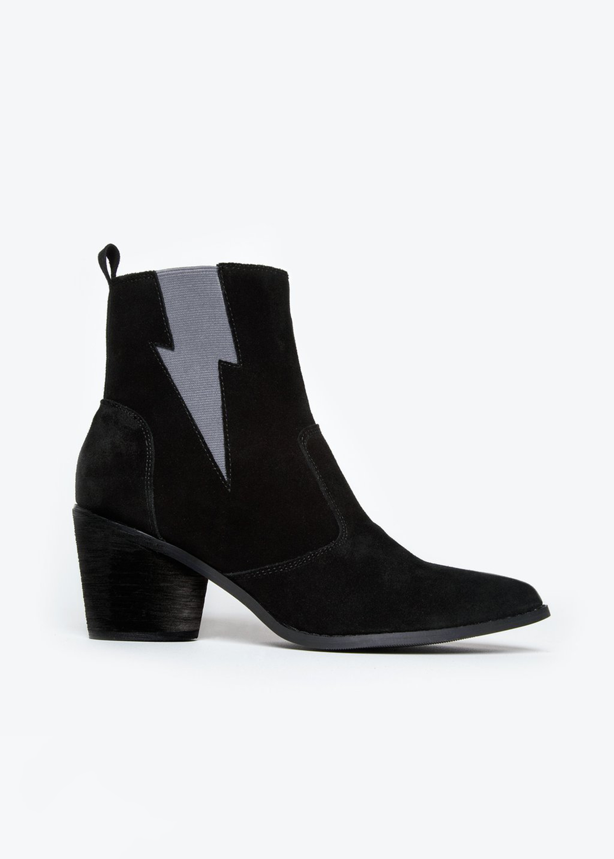6ee1a64c8 The perfect black LIGHTING BOLT boots. Pair them with a white sweater and  black jeans. - Black suede ankle boot. - Lightning bolt stretch detail.