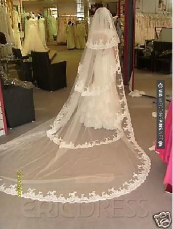 So neat - Graceful Cathedral Length White Lace Wedding Veil | CHECK OUT MORE IDEAS AT WEDDINGPINS.NET | #weddings #veils #weddingveils #weddingfashion #weddingplanning #coolideas #events #forweddings #weddingheadwear #romance #beauty #planners #weddinghats #headwear #eventplanners #weddingdress #weddingcake #brides #grooms #weddinginvitations