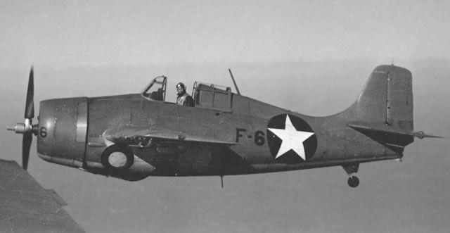 F4F Wildcat of VGS-18 Flown by Ensign H J Bitzegaio, over Puget Sound
