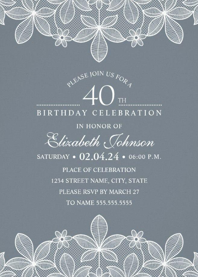 Bluish Grey Lace 40th Birthday Invitations - Elegant Luxury Custom ...
