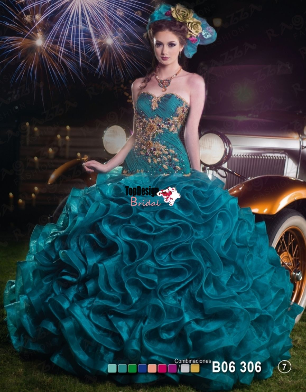 fb6c28db644 Wholesale 2016 new sweet 15 dress emerald green and gold ruffled organza  quinceanera ball gown ORS225