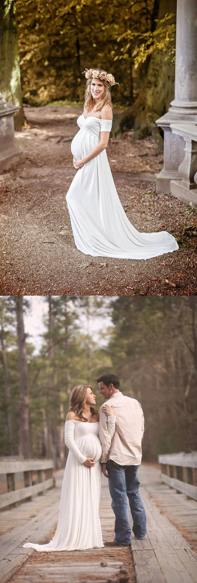 Simple white wedding dresses   Maternity Wedding Gowns Empire White Soft Chiffon Off The