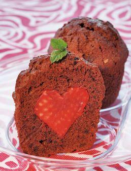 Bizcochos de chocolate y fresas - Cake of chocolate and strawberries