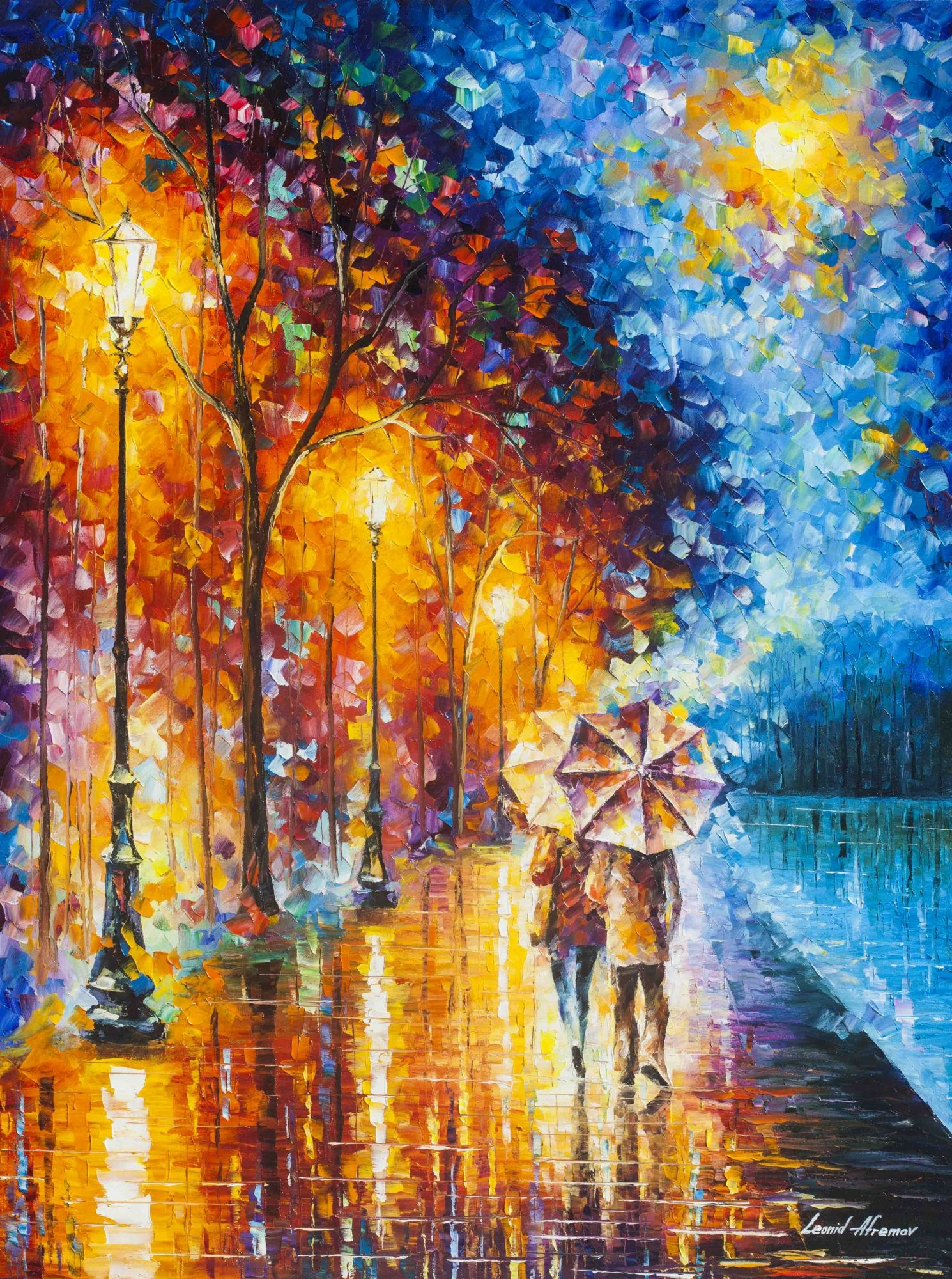 Love By The Rainy Lake Palette Knife Oil Painting On Canvas By Leonid Afremov Oil Painting On Canvas Oil Painting Landscape Canvas Painting