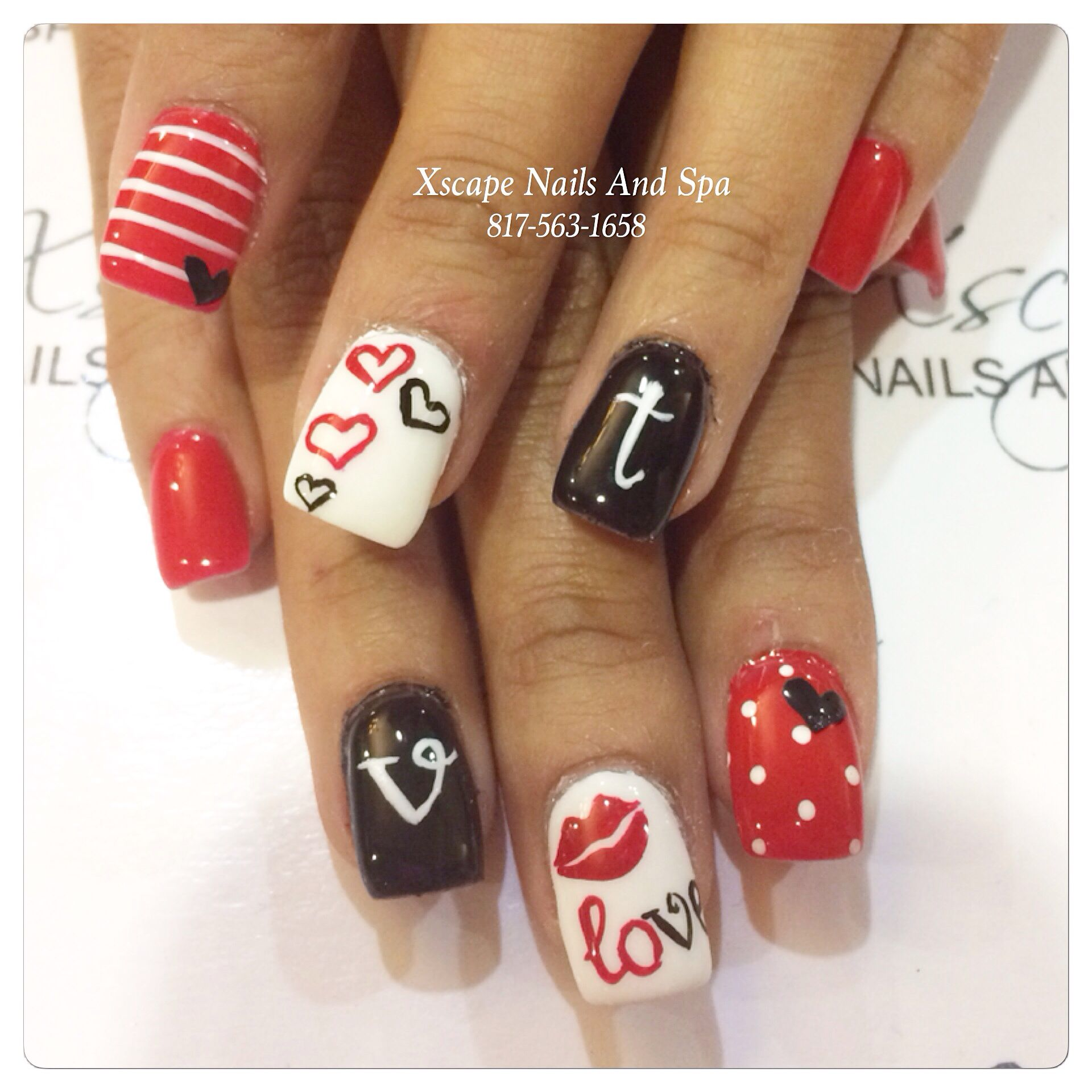 Gel nails/ valentines day nIls/ love nails | Cute Nails Designs ...