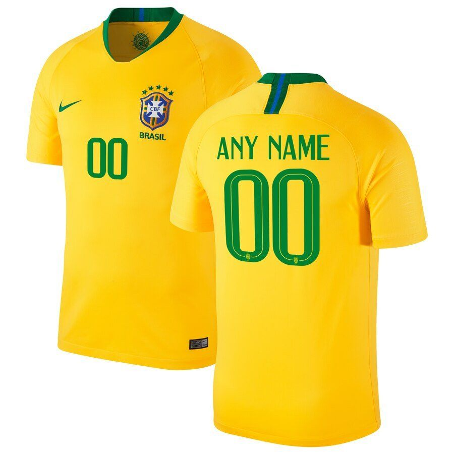 Brazil 2020 World Cup.Brazil Soccer Copa America Home Custom Jersey A Gold