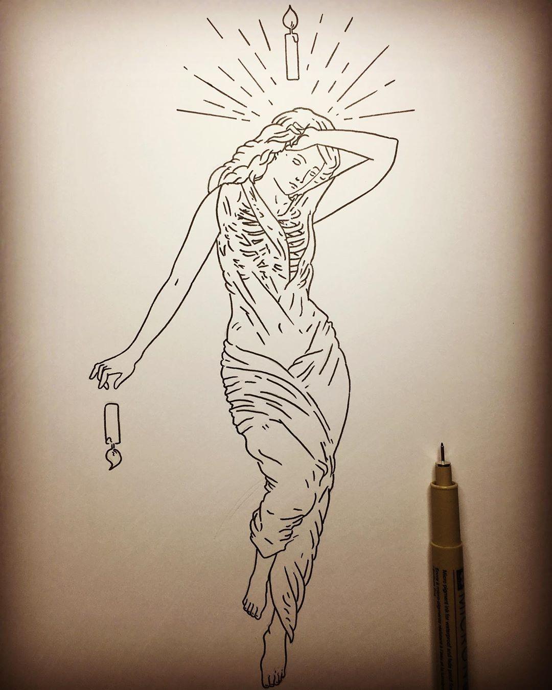 "Matthew Britton Illustration on Instagram: ""Work in progress. The World. #inkdrawing #pendrawing #inksketch #gothic #penandink #blackwork #blackandwhite #studiolife #wip…"""