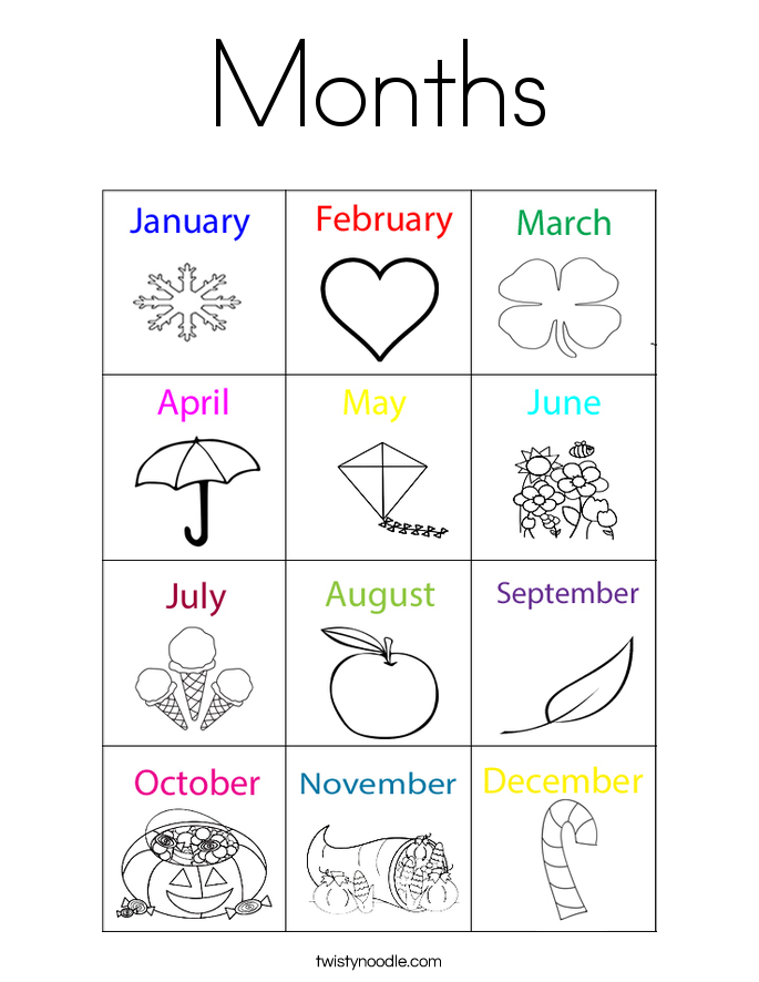 coloring pages month - Google Search | Time & Season Crafts Pre ...
