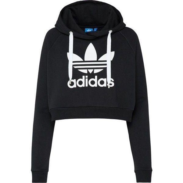 569f97ab6 ADIDAS ORIGINALS Sweatshirt 'TREFOIL CROP HOODIE' ($70) ❤ liked on Polyvore  featuring
