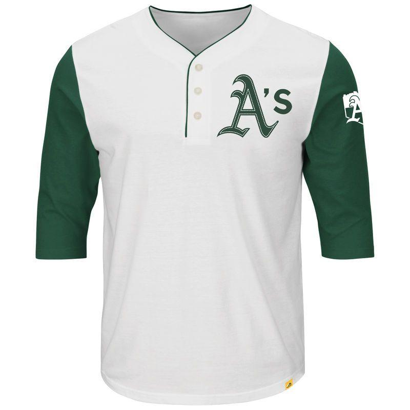 8b3dad7ae Oakland Athletics Majestic Big Time Fan Raglan Three-Quarter Sleeve T-Shirt  - White/Green