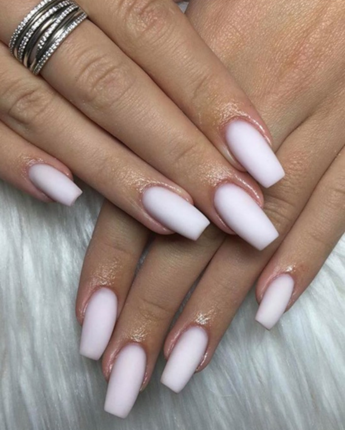 Milky Nails Is The Biggest Manicure Trend for 2020 | White acrylic nails, Long acrylic nails, Glitter gel nails