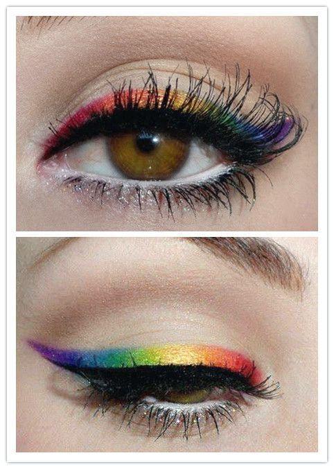 Eine Sammlung bunter Eyeliner-Make-up-Ideen für lebhafte Frühling sieht aus - - - up bunter