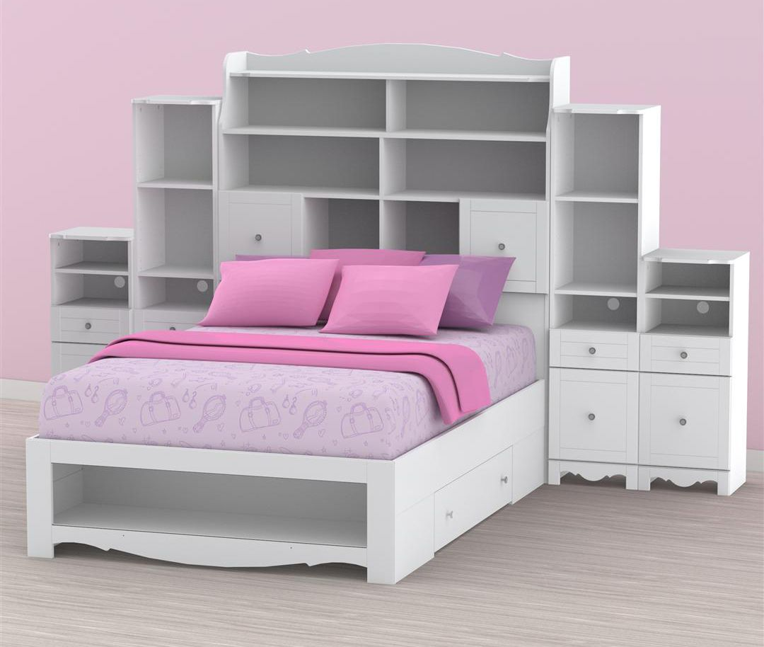 Bed With Storage Headboard
