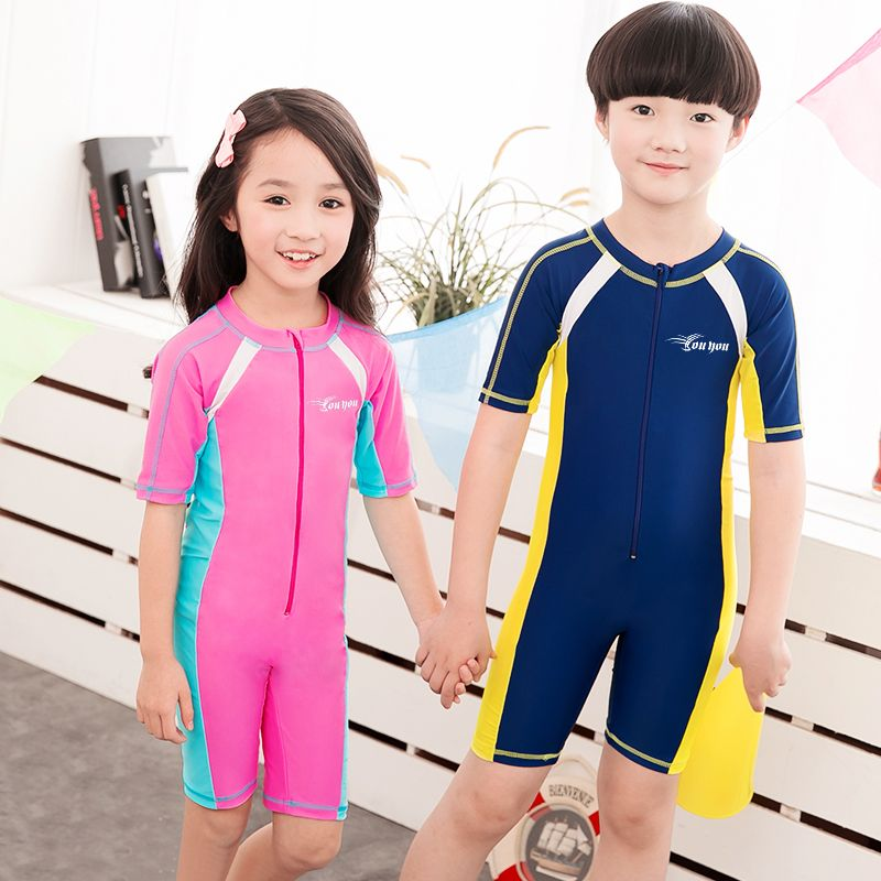 Kids Baby Boys One Piece Swimwear Long Sleeve Rash Guard Summer Beach Wet Suit