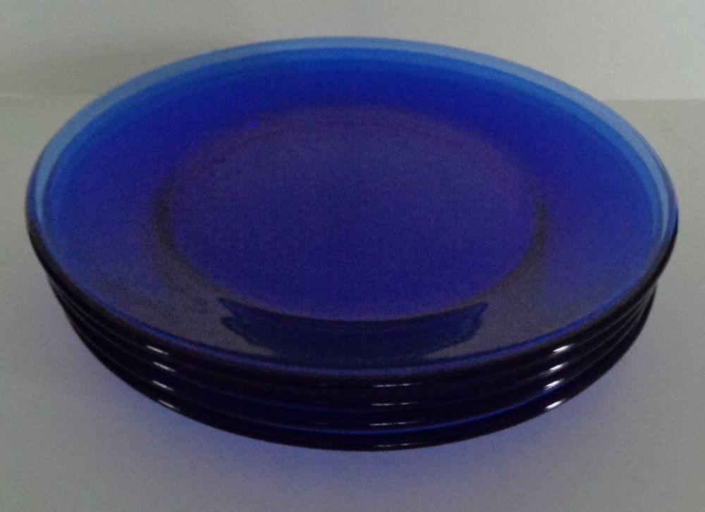 Cobalt Blue Glass Plates 7 1 2 Set Of 4 Unbranded Vintage