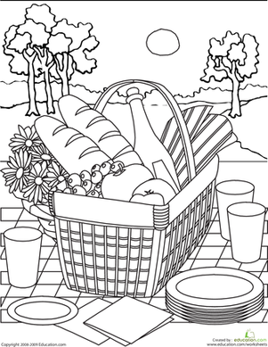 Color The Picnic Basket Worksheet Education Com Summer Coloring Pages Food Coloring Pages Summer Coloring Sheets