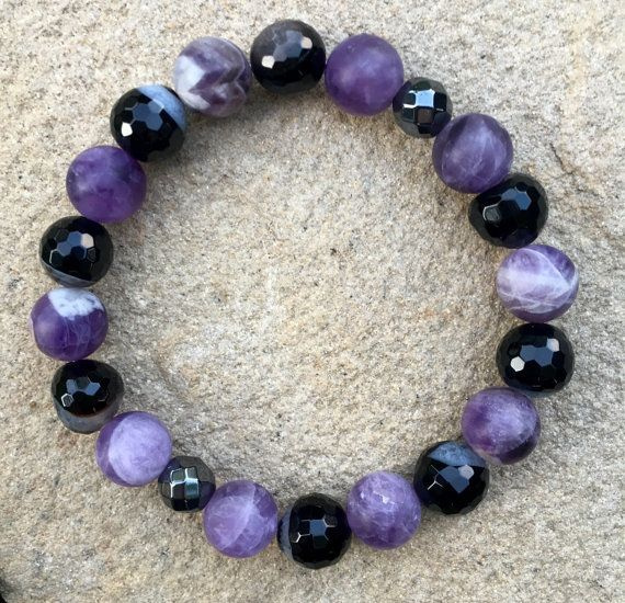 Amethyst Agate & Hemalite Stretch Bracelet by ChooseLoveDesigns