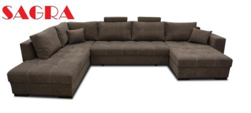 New-Large-Fabric-Leather-sofa-bed-Zurich-BLACK-GREY-BROWN-2-3-SEATER-SAGRA