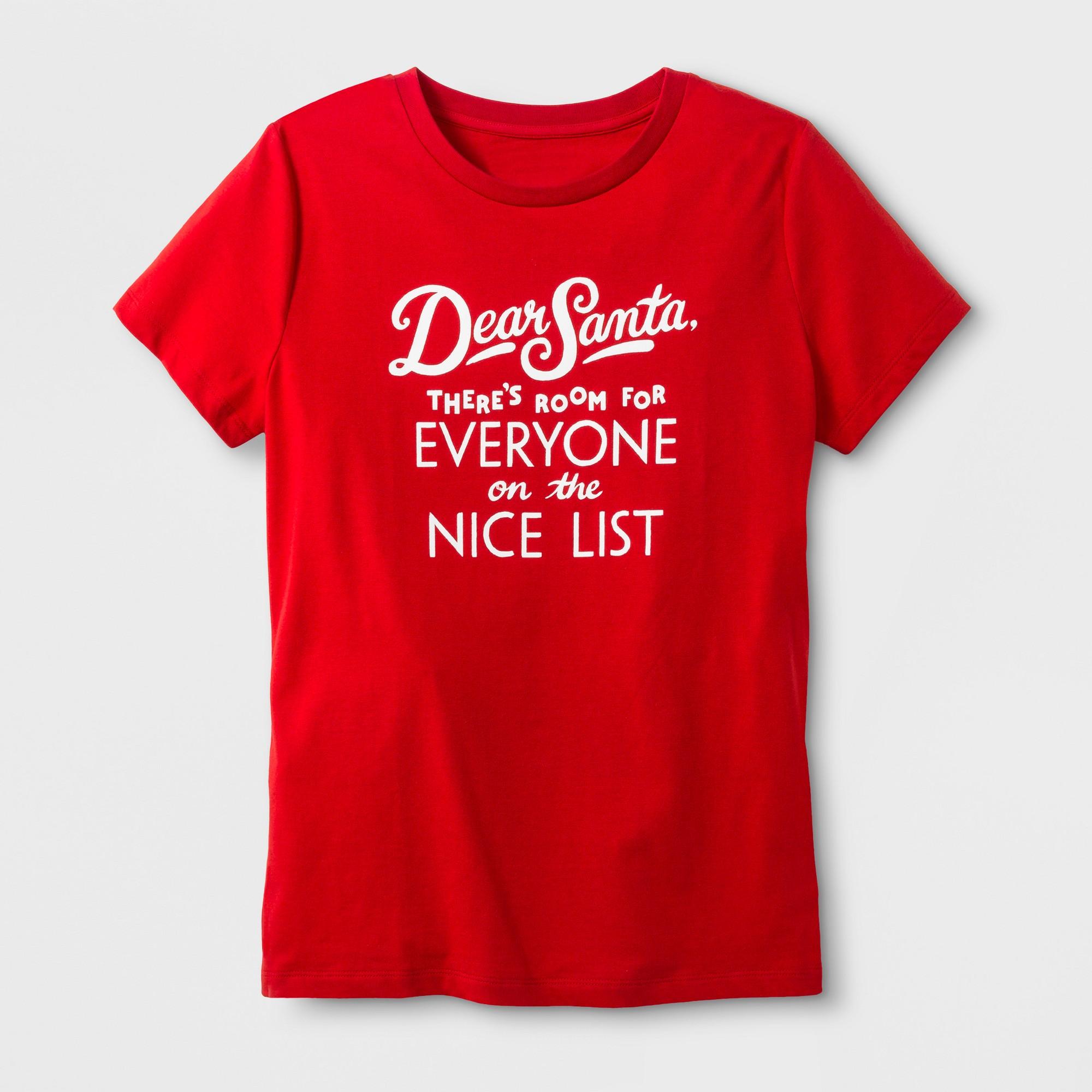 Women's Short Sleeve 'Dear Santa' TShirt Red M Funny