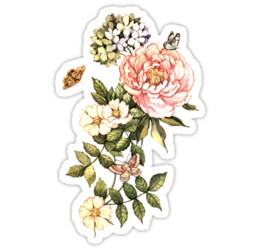 Watercolor Vintage Floral Motifs By Anna Yudina Floral Stickers Aesthetic Stickers Green Sticker