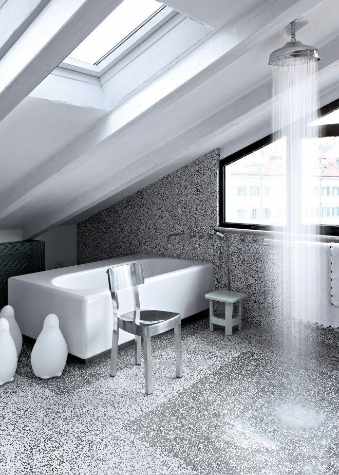 salle de bain carrelage gris noir douche baignoire métal lumiere - volume salle de bains