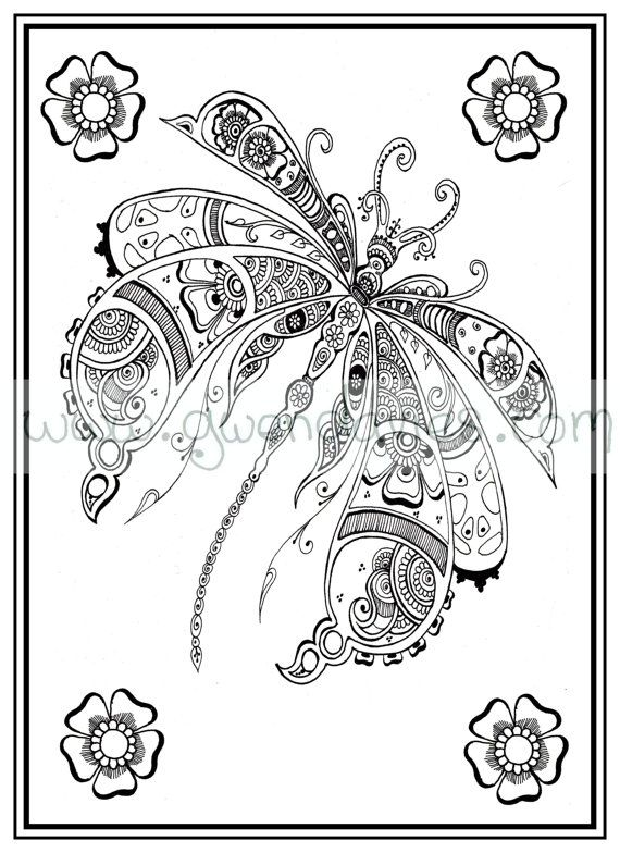 Adult colouring in PDF download dragonfly henna zen mandalas garden ...