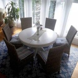 Houston TX Merchandise White Round Clawfoot Dining Table With Center Leaf