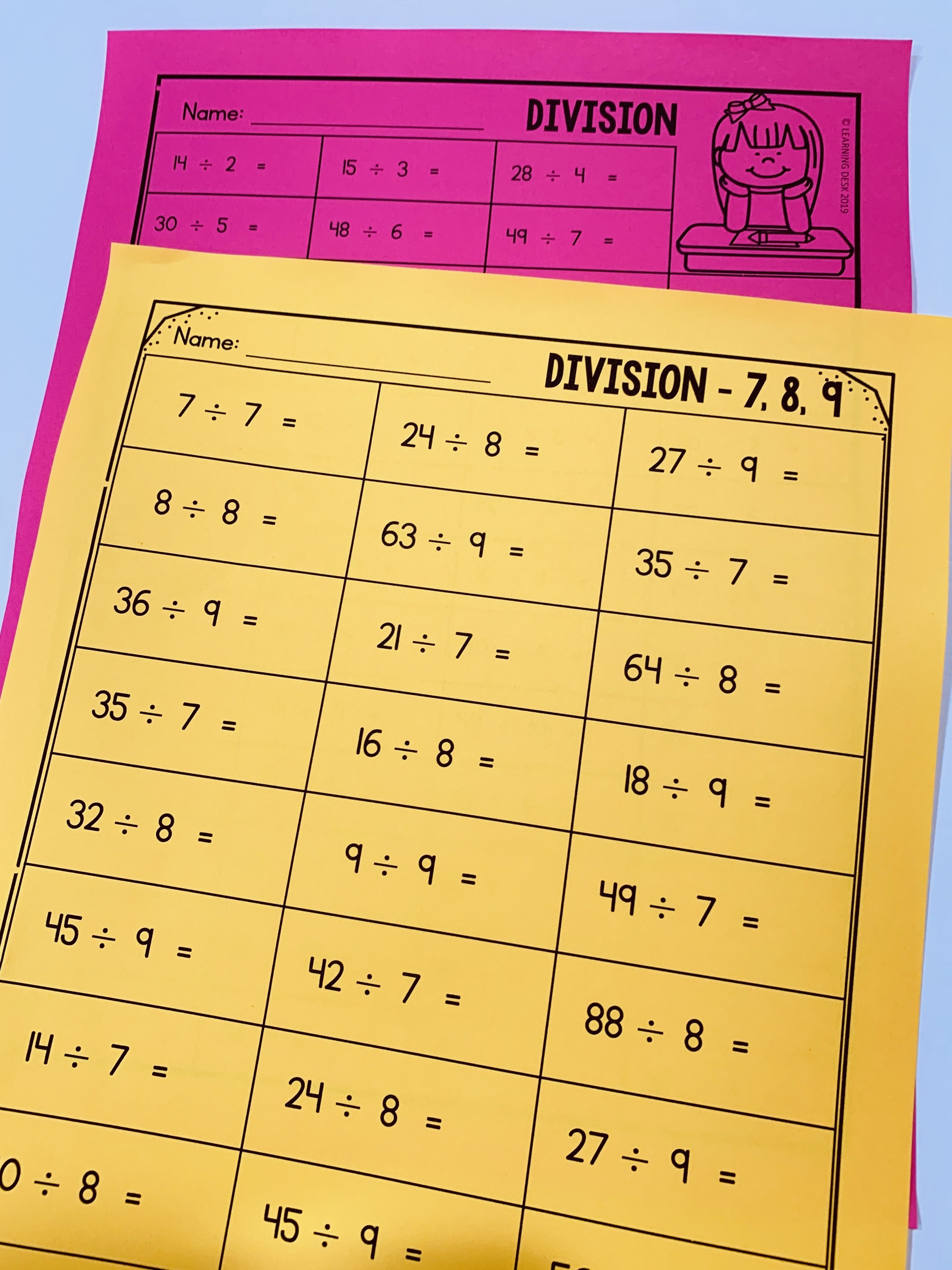 Division Facts Practice
