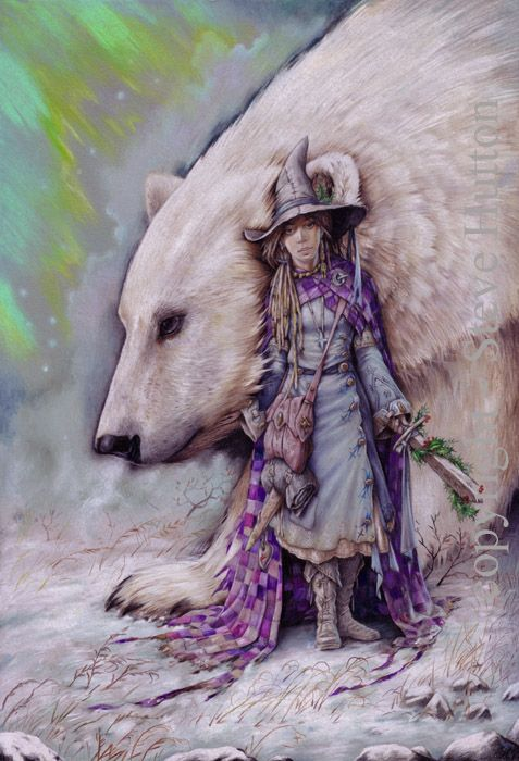 'Travella Temperance' of Wildwood-coven wearing the colours of season Moon-Frost. With her is Thule, the spirit of winter and one of the four guardians of Hethra & Halla, summoned by one of the four 'Swords of Britain'.