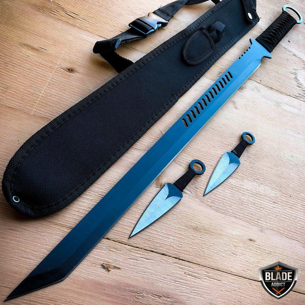 "27/""  FULL TANG Ninja Sword BLACK /& RED 2 Tone Blade MACHETE Tactical W// Sheath"