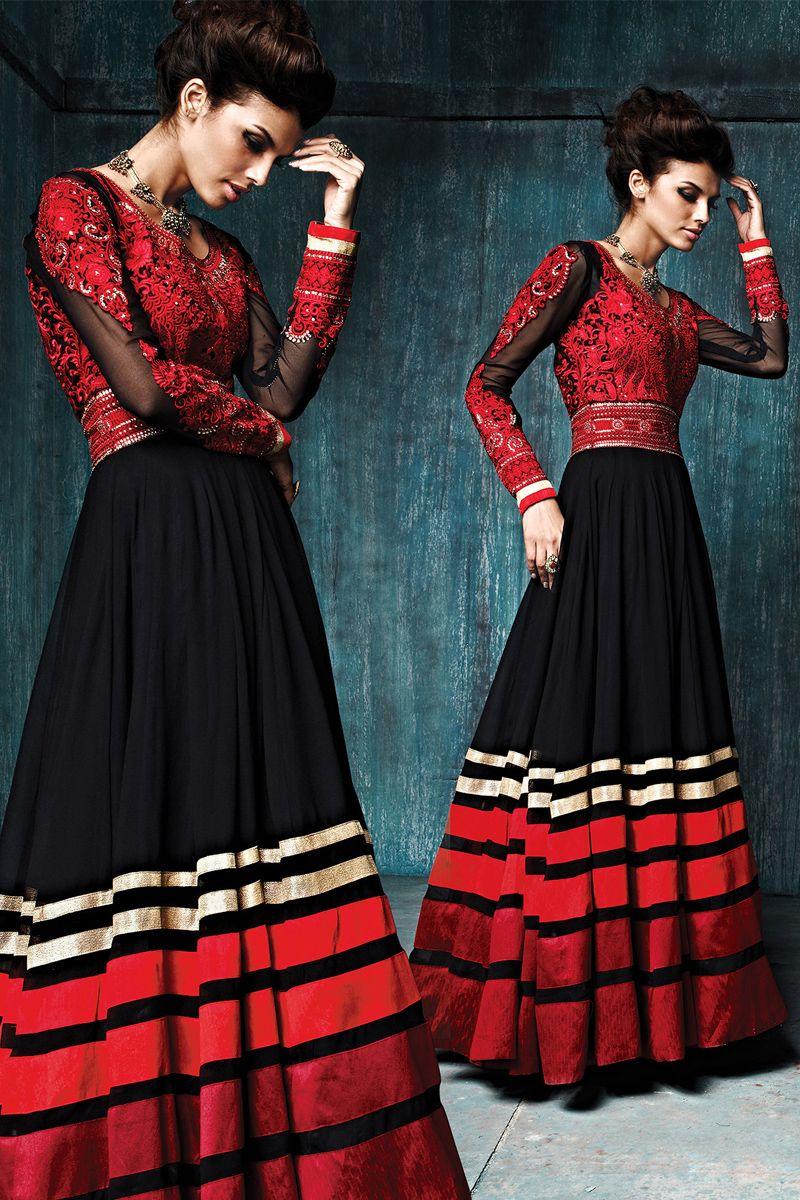 Black Color Long designer party wear anarkali salwar kameez at ...