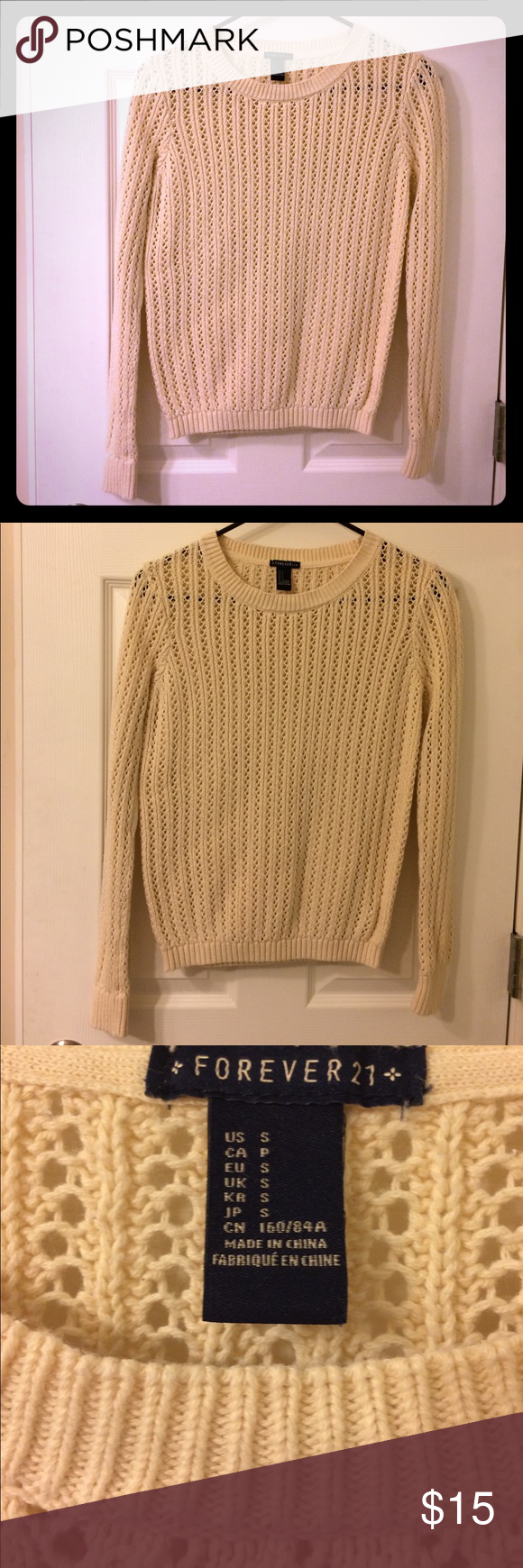 Forever 21 cream-colored sweater | Sweater cardigan, An and Keys