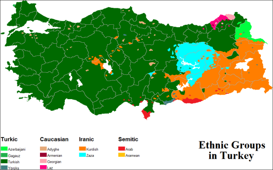 religion what you see here is a map of the ethnic groups in turkey most of the population in turkish in fact 70 75 of the population