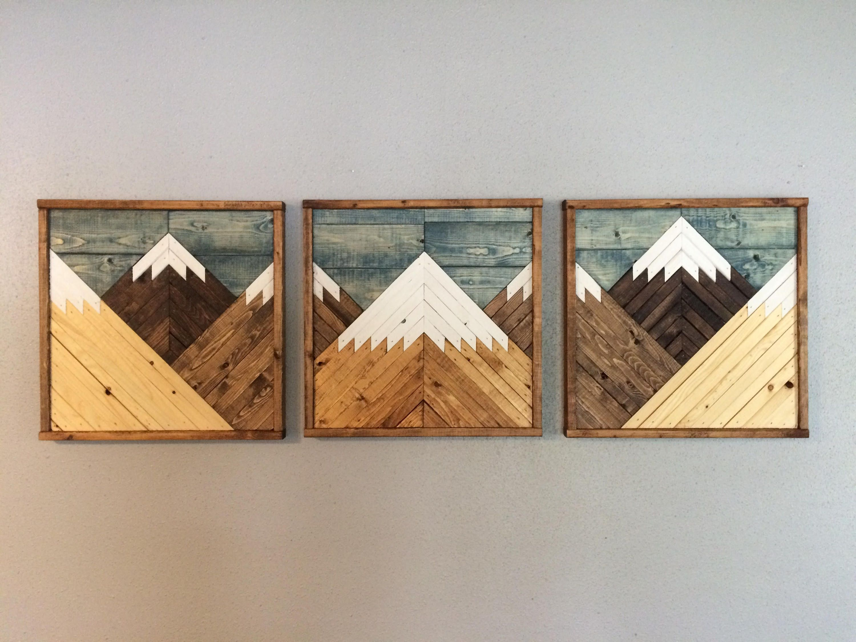 Stained Mountain Tops Set Of 3 Reclaimed Wood Wall Art Wood Etsy In 2021 Mountain Wood Wall Art Reclaimed Wood Wall Art Wood Wall Art